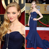 Amanda Seyfried stunned in her navy blue Zac Posen gown. Did you vote in our poll or any of our other polls from the SAG Awards?