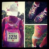 Marisa completed the MS Colour Run — where you wear a white t-shirt and get sprayed with different coloured dust as you run — on Australia Day.