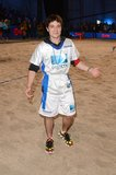 Josh Hutcherson got competitive in the sand during the 7th Annual Celebrity Beach Bowl game on Saturday.