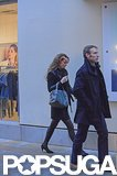 Kate Middleton held an umbrella while out shopping.  Source: Simpson/Bushell