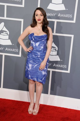 Kat Dennings chose a shimmery strapless dress for the Grammys.