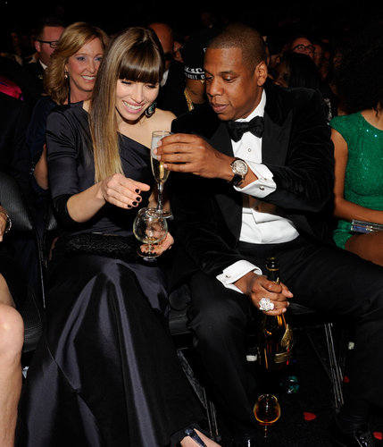 Jay-Z shared a drink with Jessica Biel during the show.