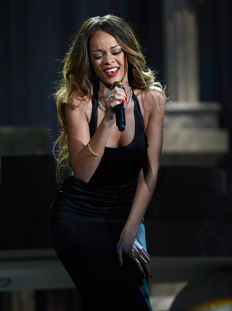 Rihanna sang at the Grammys.