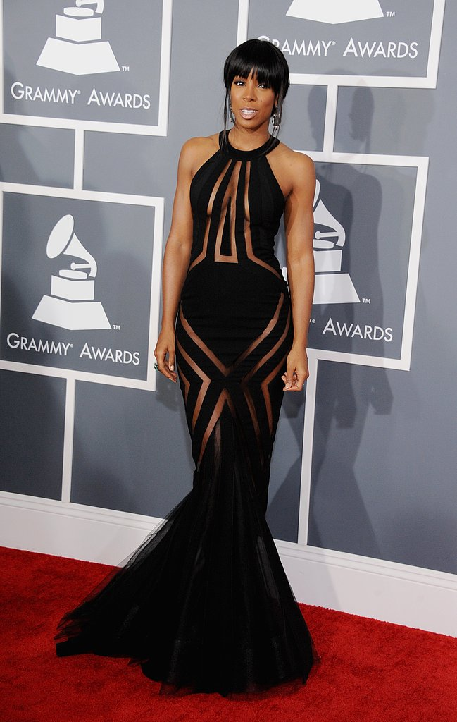 Kelly Rowland defied the Grammys dress code with a provocative but very flattering black Georges Chakra Couture dress.