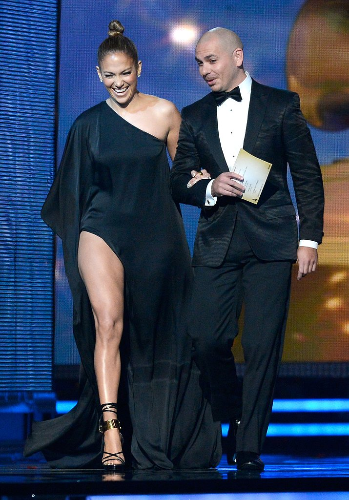 Jennifer Lopez hopped on stage with Pitbull to present an award.