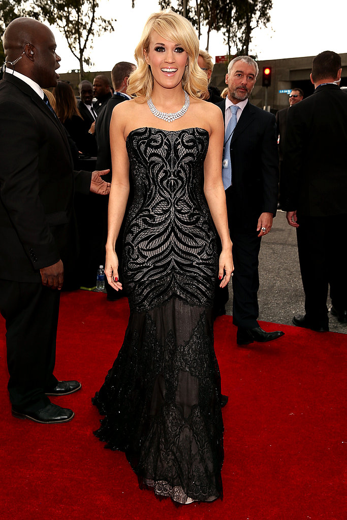 Carrie Underwood wore Roberto Cavalli to the 2013 Grammys.