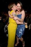 Lena Dunham planted a kiss on Kat Dennings.