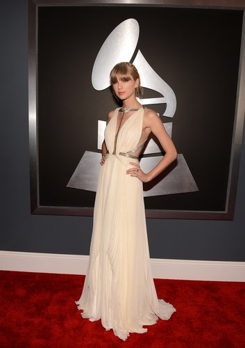 Taylor Swift wore a floor-length J. Mendel gown to the Grammys.