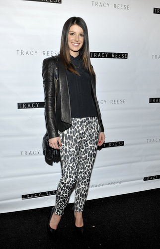 Shenae Grimes's leopard pants jazzed up her ensemble at Tracy Reese.