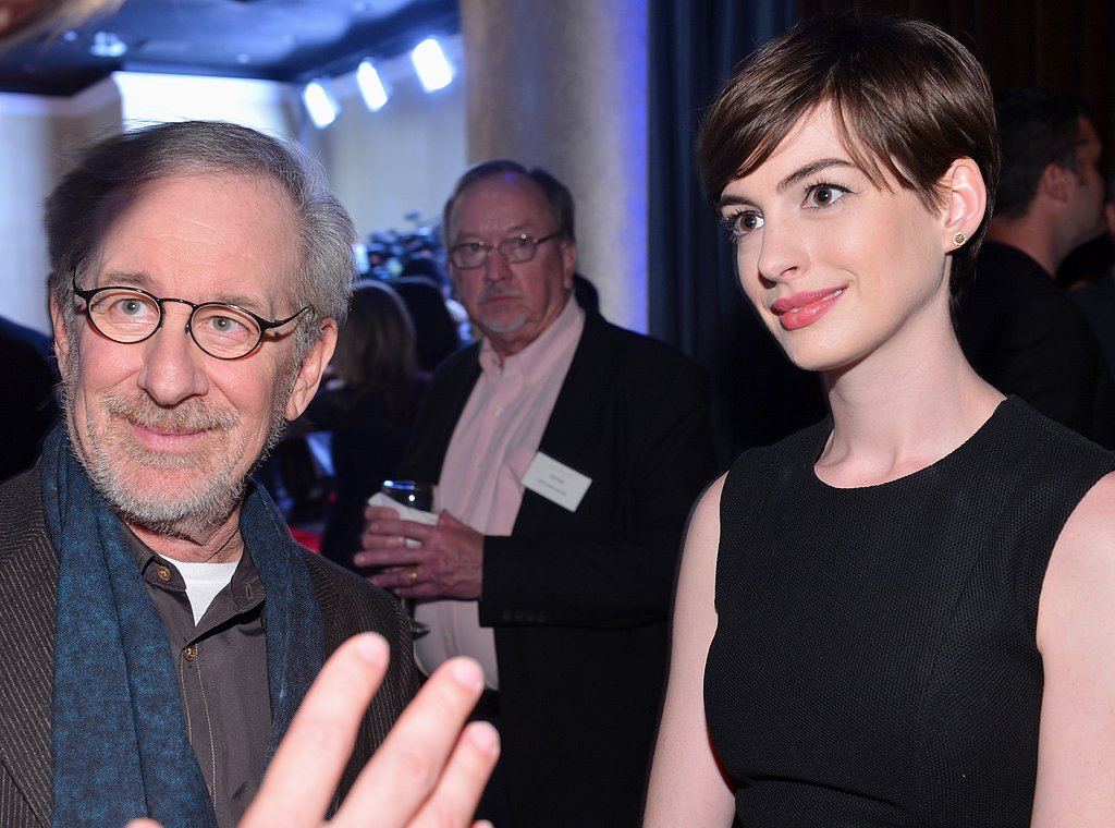 Anne Hathaway and Steven Spielberg chatted with guests at the Oscars luncheon in Beverly Hills.