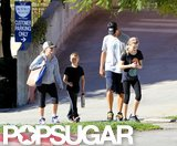 Reese Witherspoon hit the gym with her kids Ava Phillippe and Deacon Phillippe in LA.
