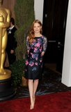 Jessica Chastain wore a fancy floral dress to the Oscars nominations luncheon Monday afternoon.