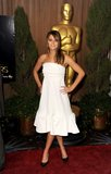 Jennifer Lawrence posed in front of the large Oscar statue at the 85th Annual Academy Awards luncheon for nominees.