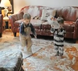 Children Destroy Home with Bag of Flour, Caught on Camera (VIDEO)