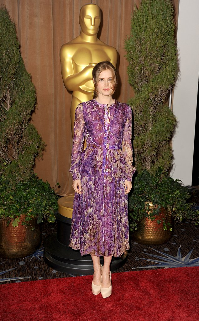 Amy Adams brought gorgeous color and print to the event in this pleated J. Mendel dress, which she finished with nude platform pumps (so as not to upstage the beautiful florals).