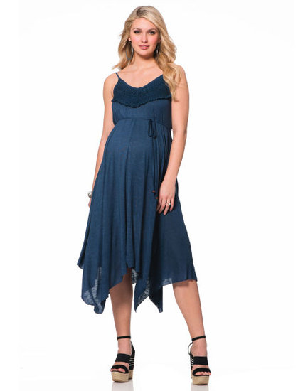 The Spaghetti Strap Hankey Hem Maternity Dress ($59) can easily move from day to night on a warm Spring day.