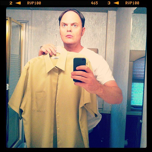 Rainn Wilson's Dwight went through a wardrobe check. Source: Instagram user rainnwilson