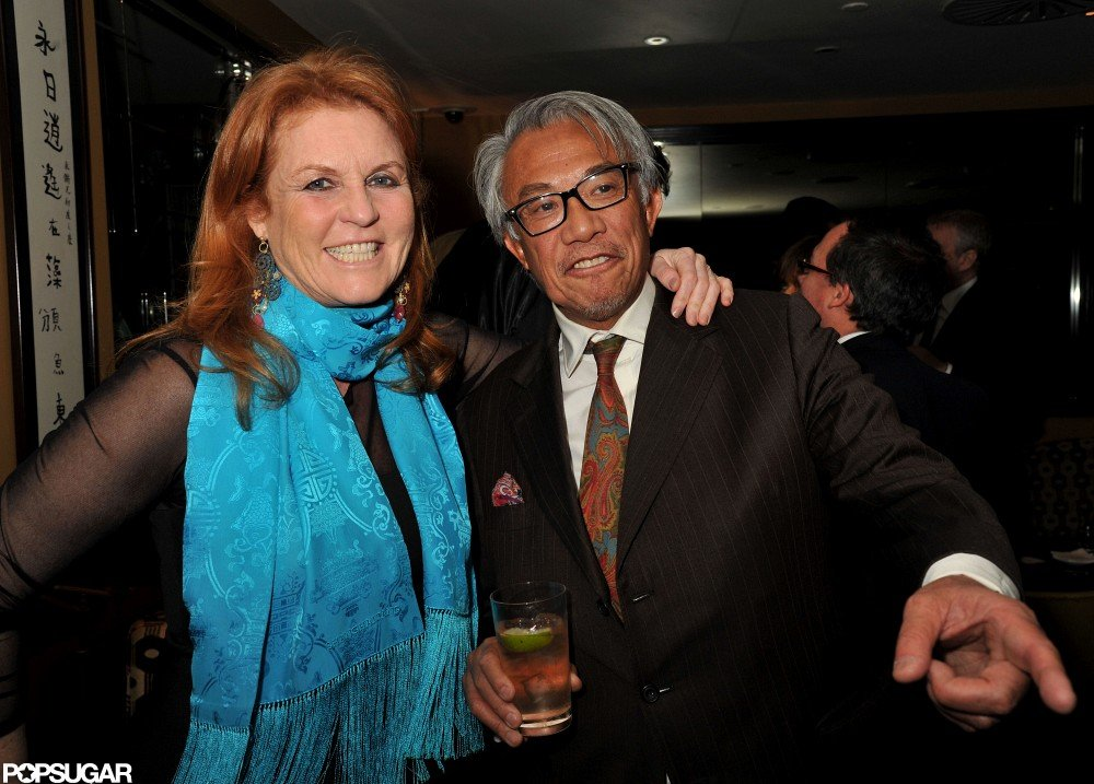 Sarah Ferguson and David Tang smiled for photos in London.