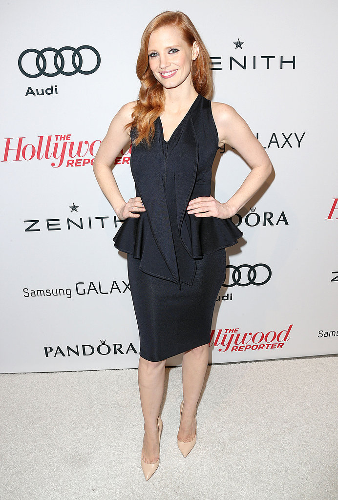 Jessica Chastain posed on the carpet before heading into the event.