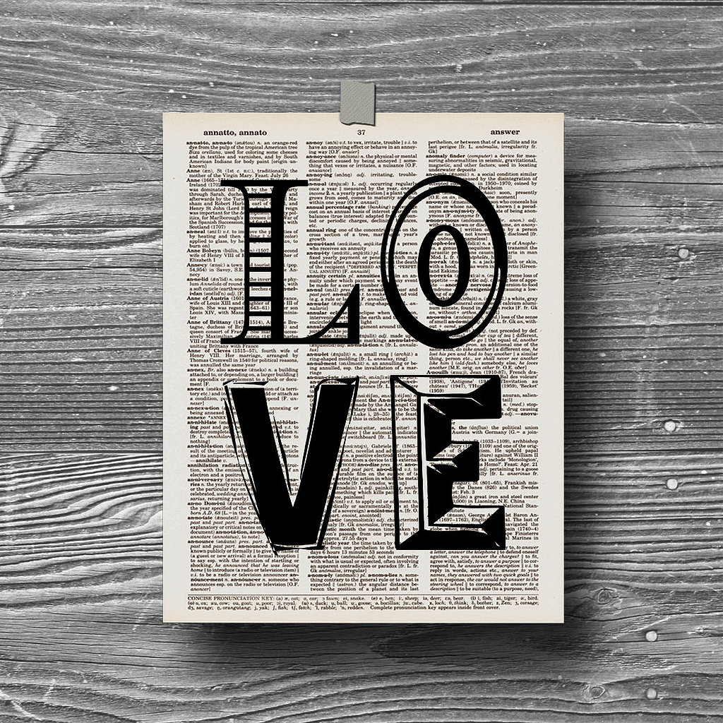 Love dictionary page art print ($11)