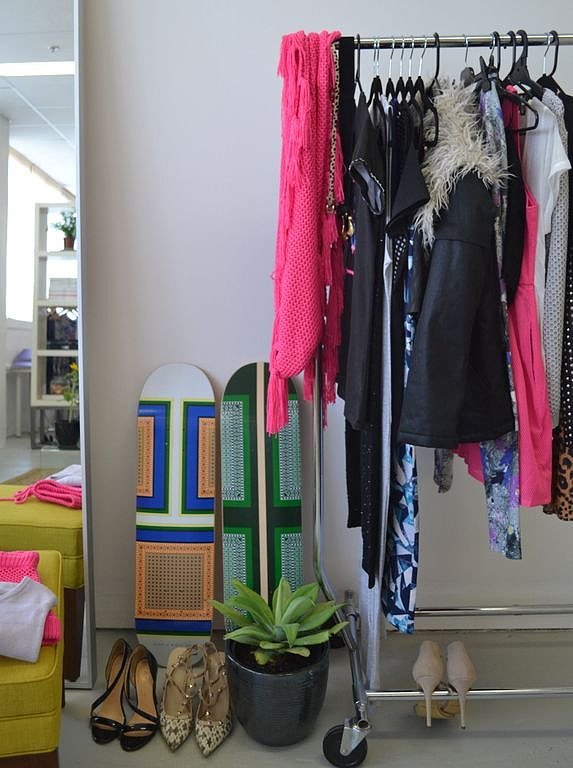 I hang my clothing on open racks so I can always see the delicious colours and the combinations they make. That way I feel I'm constantly inspired.