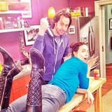 Whitney Cummings and Chris D'Elia goofed around on the set of Whitney. Source: Instagram user therealwhitney