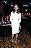 Katharine McPhee attended the amfAR New York Gala in a white Theyskens' Theory dress.