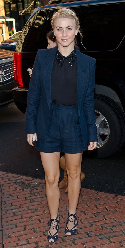 That same day Julianne accessorized her navy Nonoo shorts suit and black blouse with lace-up Nicholas Kirkwood sandals and a beaded bib necklace while promoting her new movie in Philadelphia.