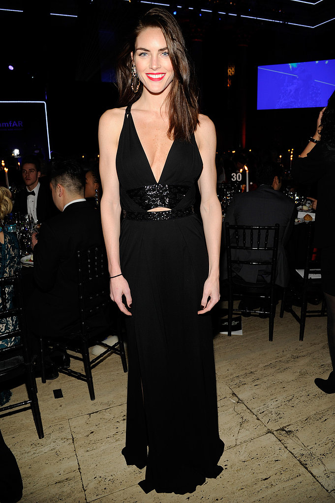 Hilary Rhoda attended the amfAR New York Gala in black.