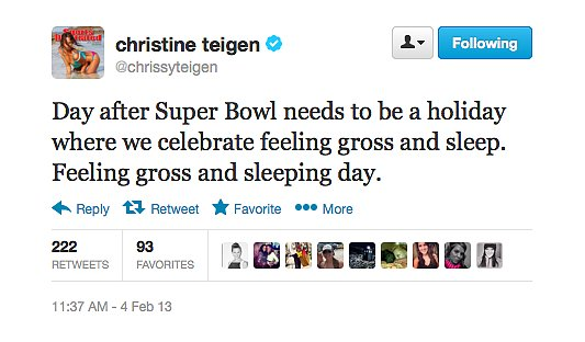 Chrissy Teigen needed a low-key Monday after the Super Bowl.