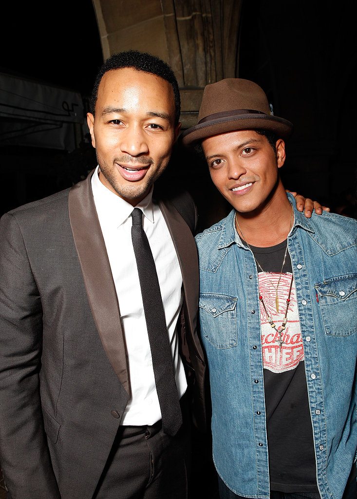 John Legend and Bruno Mars made a handsome pair at Warner Music's 2012 Grammys celebration.