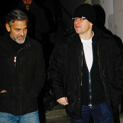 Matt Damon and George Clooney in Berlin