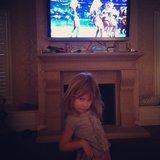 Stella McDermott put on her own lil halftime show during the Super Bowl. Source: Instagram user torianddean