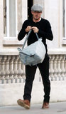 David Beckham toted a backpack around London.