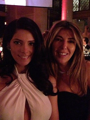 Ashley Greene and Nina Garcia posed together at their table during the amfAR New York Gala. Source: Twitter user AnneFulenwider