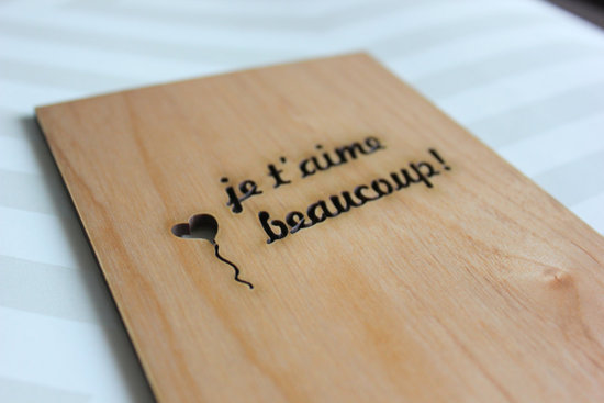 Add some French flair to your Valentine's Day greeting with the Je T'Aime Beaucoup Card ($10).