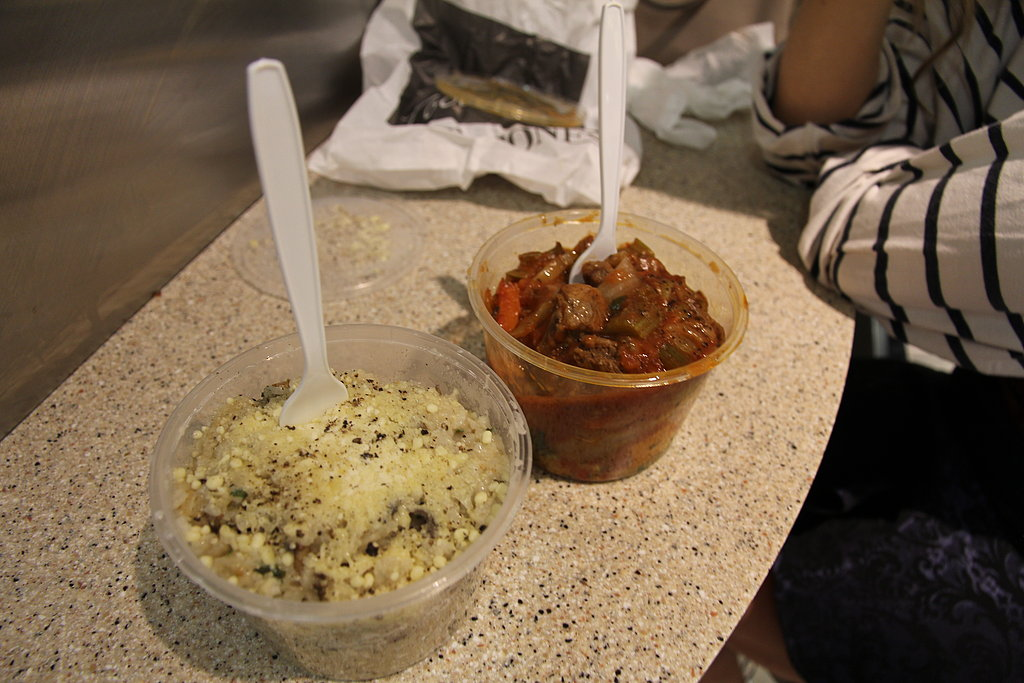 See, it's not all glamour all the time! We ducked downstairs to the David Jones food court to refuel. Mushroom risotto for BellaSugar ed Alison, and Italian lamb stew for FabSugar ed Ali.