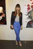 Jessica Biel wore blue pants out in LA.