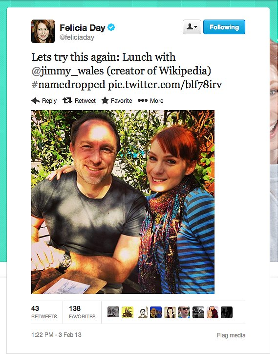 Geek & Sundry's Felicia Day spends a noontime meal with the man behind the Internet's biggest encyclopedia.