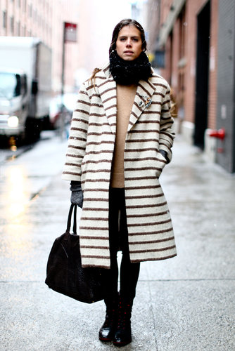 A striped coat was all the statement-making this outfit needed.