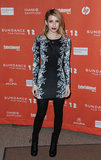 Emma paired a printed minidress with black tights for the Sundance Film Festival premiere of Celeste and Jesse Forever in January 2012.