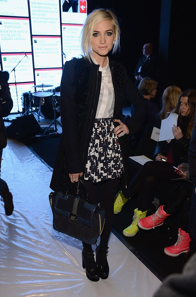 Ashlee Simpson's printed miniskirt added a dash of much-needed print to her otherwise solid ensemble at Rebecca Minkoff.