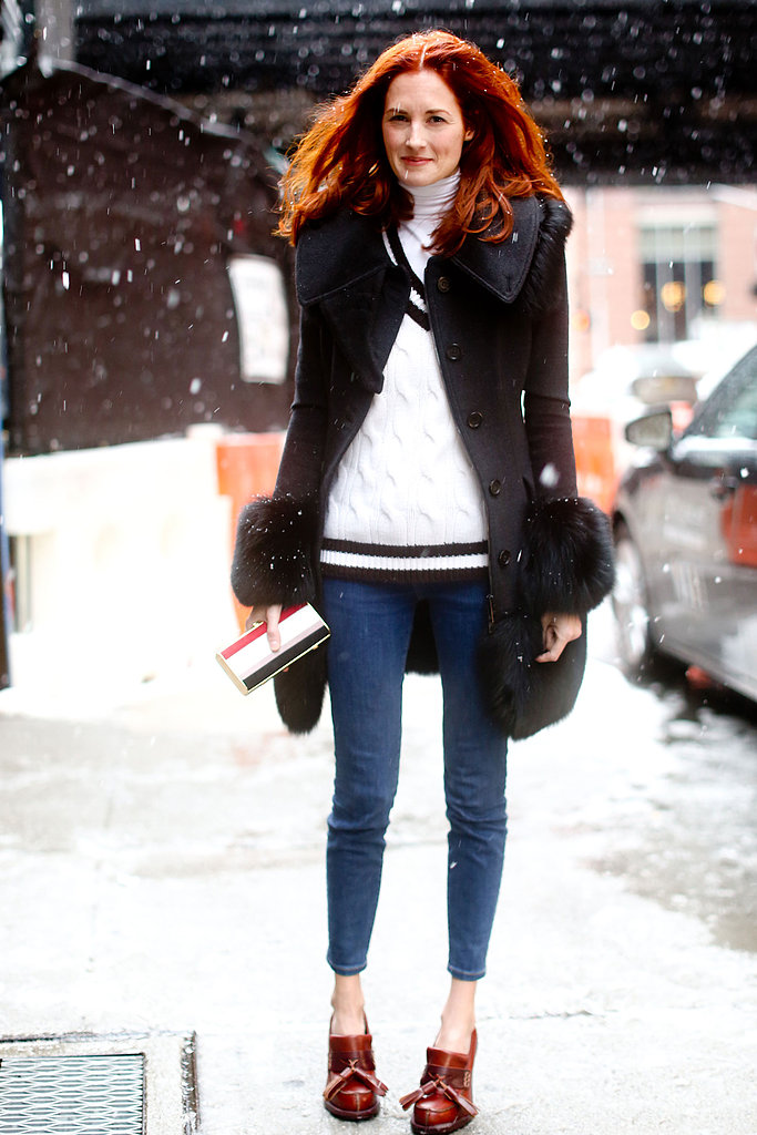 Durable jeans are a smart style statement for breezy days. Plus, chunky loafers and booties are easy for snowy treading.