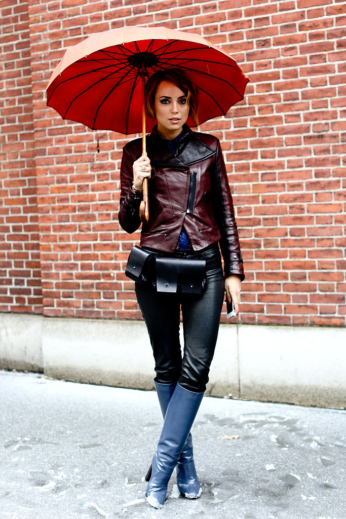 Fight snowfall by making an umbrella part of your general look. Bonus points if it's as chic as this one.