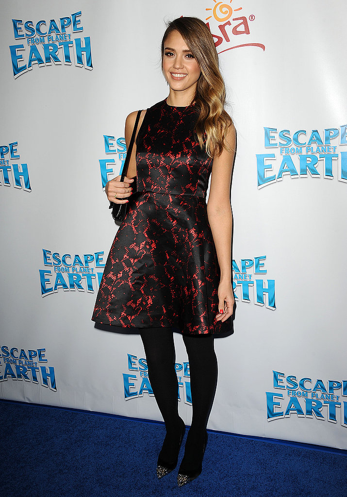 Jessica Alba slipped into a sweet Louis Vuitton dress with black tights and pointed-toe heels for a film premiere in LA.