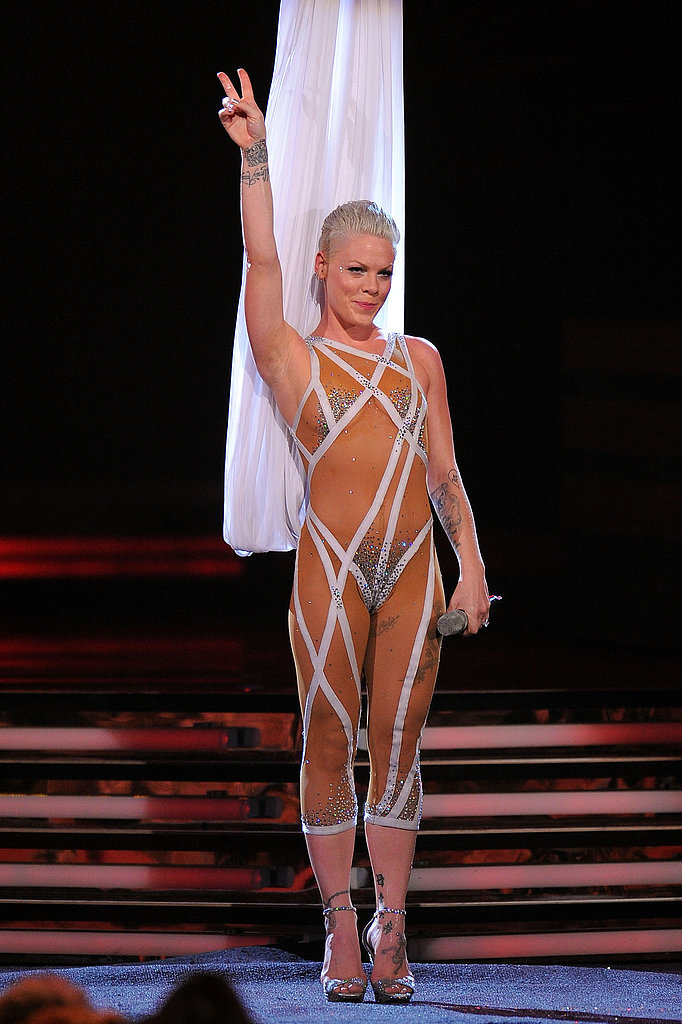 Pink's costume left little to the imagination.