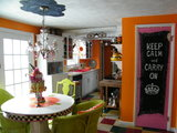MY bright orange fiestaware inspired kitchen makeouve