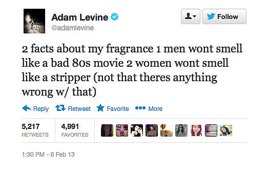 Adam Levine spruiks his new fragrance . . . unconventionally.