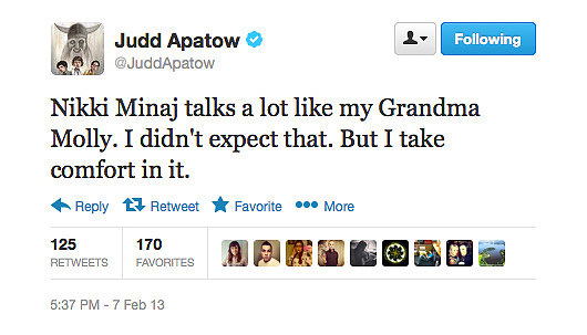 Judd Apatow seems pleasantly surprised by Nicki Minaj's stint as an American Idol judge.