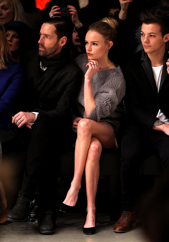 Kate Bosworth and fiancé Michael Polish sat in the front row at Topshop's show during London Fashion Week.
